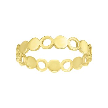 14K Gold Alternating Open Circle Stackable Ring