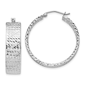 Sterling Silver Rhodium-plated Diamond-cut 7.75x30mm Hoop Earrings