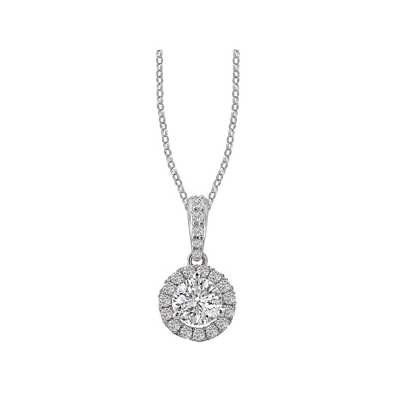 Tesoro Ladies Diamond Halo Necklace