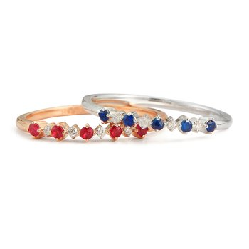 14K thin band 5 Rubies 0.14C & 4 Diamonds 0.03C