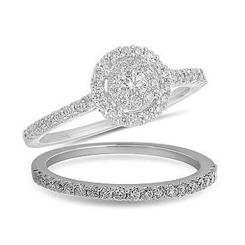 14K WG Round Diamond Wedding Band in Prong Setting