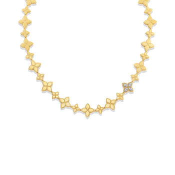 18KT GOLD LINK COLLAR WITH DIAMOND LINK