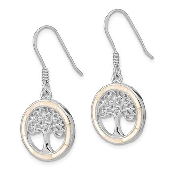 Sterling Silver Rhodium-plated White MOP Tree of Life Earrings