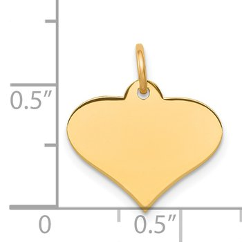 14k Plain .009 Gauge Engraveable Heart Disc Charm