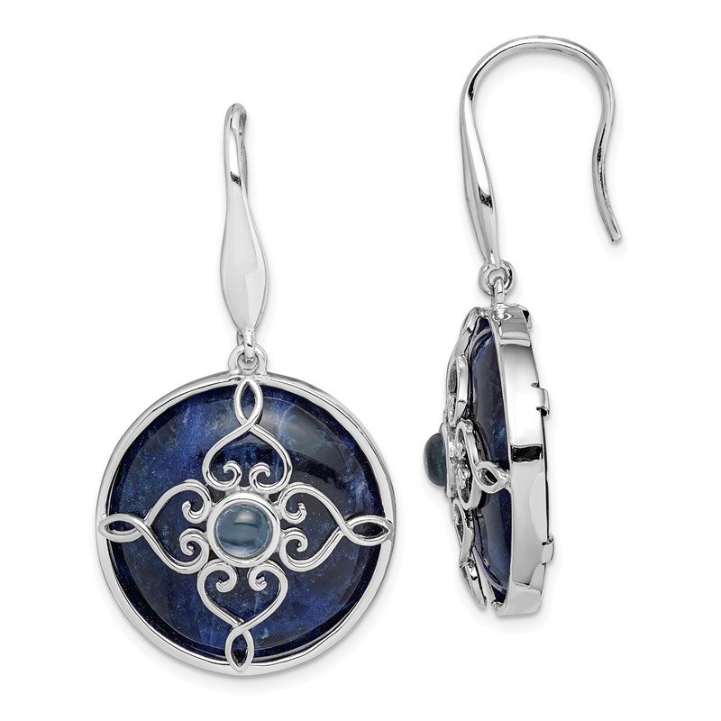 Arizona Diamond Center Collection Sterling Silver Rhodium-plated w/Sodalite and Blue Topaz Earrings