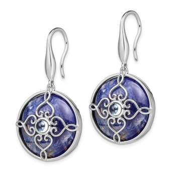 Sterling Silver Rhodium-plated w/Sodalite and Blue Topaz Earrings