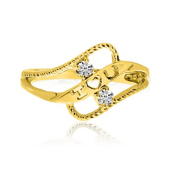 14K Yellow Gold Braided I Love You Two-Stone Diamond Ring