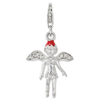 Sterling Silver Enameled w/ CZ 3D Fairy Lobster Clasp Charm