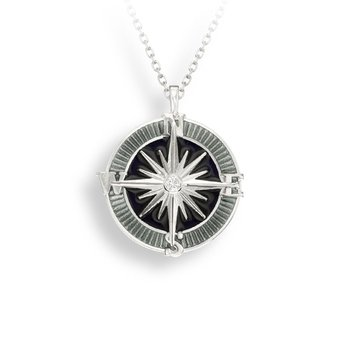 Gray Compass Rose Necklace.Sterling Silver-White Sapphire