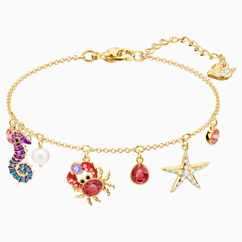 Ocean Bracelet, Multi-colored, Gold-tone plated