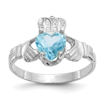14k White Gold December CZ Birthstone Claddagh Ring