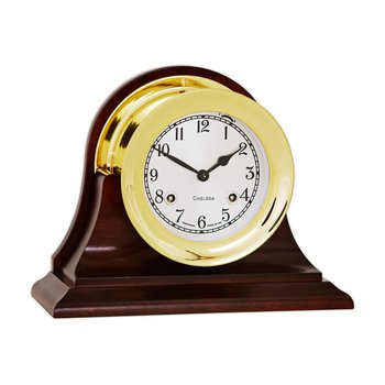 "4 1/2"" Shipstrike Clock in Brass on Traditional Base"