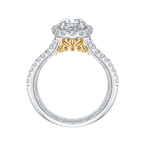 Carizza 14K Two-Tone Gold Oval Diamond Halo Vintage Engagement Ring with Split Shank (Semi-Mount)