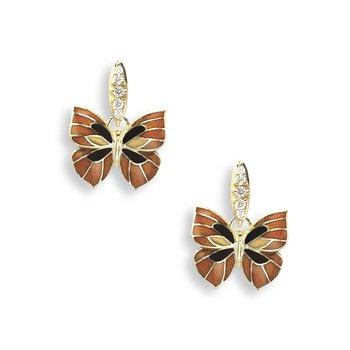 Orange Butterfly Stud Earrings.18K -Diamonds