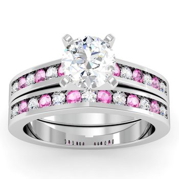 Channel Set Pink Sapphire & Diamond Band