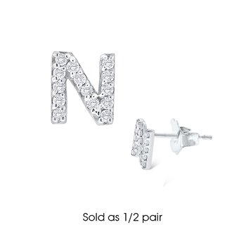 "Diamond Single Initial ""N"" Stud Earring (1/2 pair)"