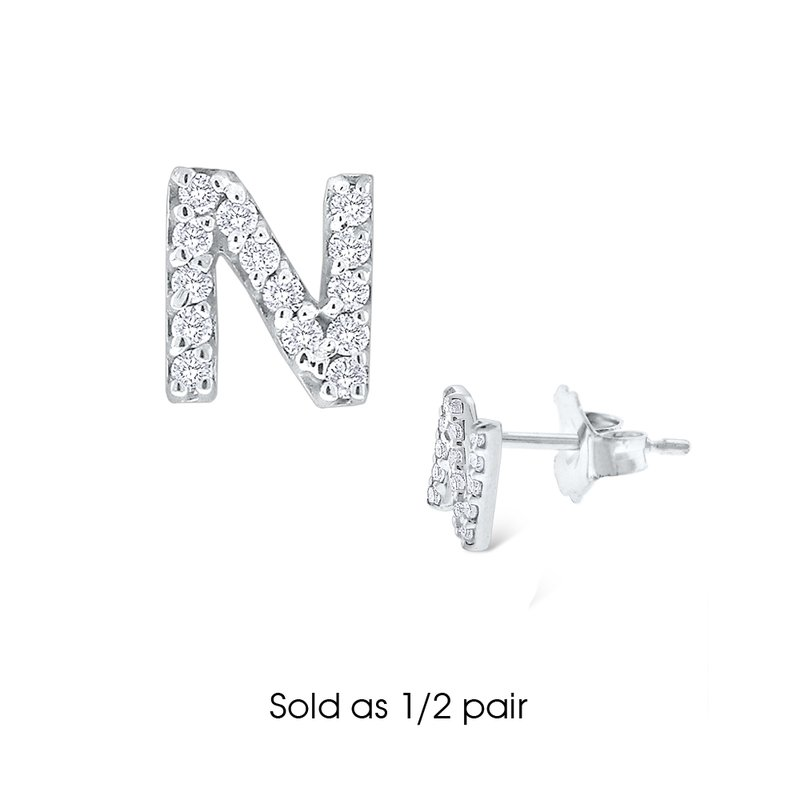 "KC Designs Diamond Single Initial ""N"" Stud Earring (1/2 pair)"
