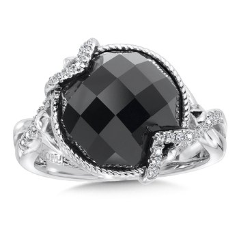 Sterling silver, onyx and diamond ring