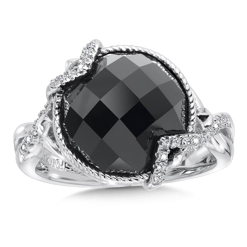 Colore Sg Sterling silver, onyx and diamond ring