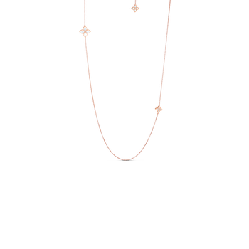 18KT TWO STATION MOTHER-OF-PEARL & DIAMOND NECKLACE