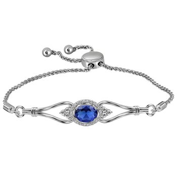 Sterling Silver Womens Oval Lab-Created Blue Sapphire Diamond Bolo Bracelet 1.00 Cttw