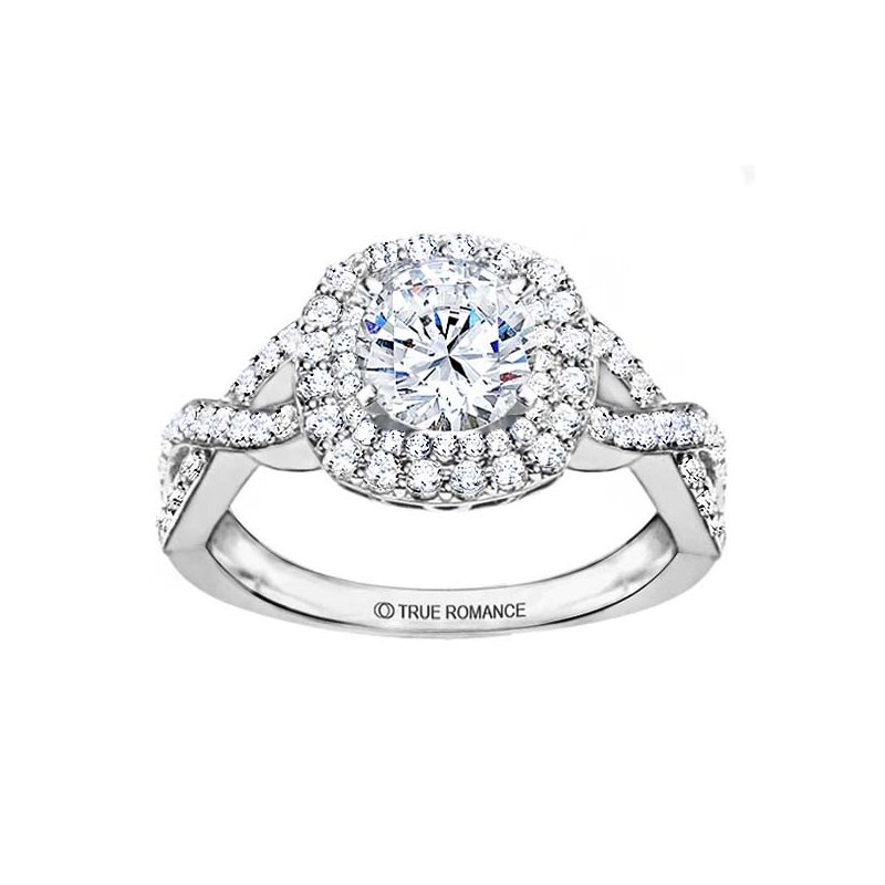 True Romance Round Cut Double Halo Diamond Infinity Engagement Ring