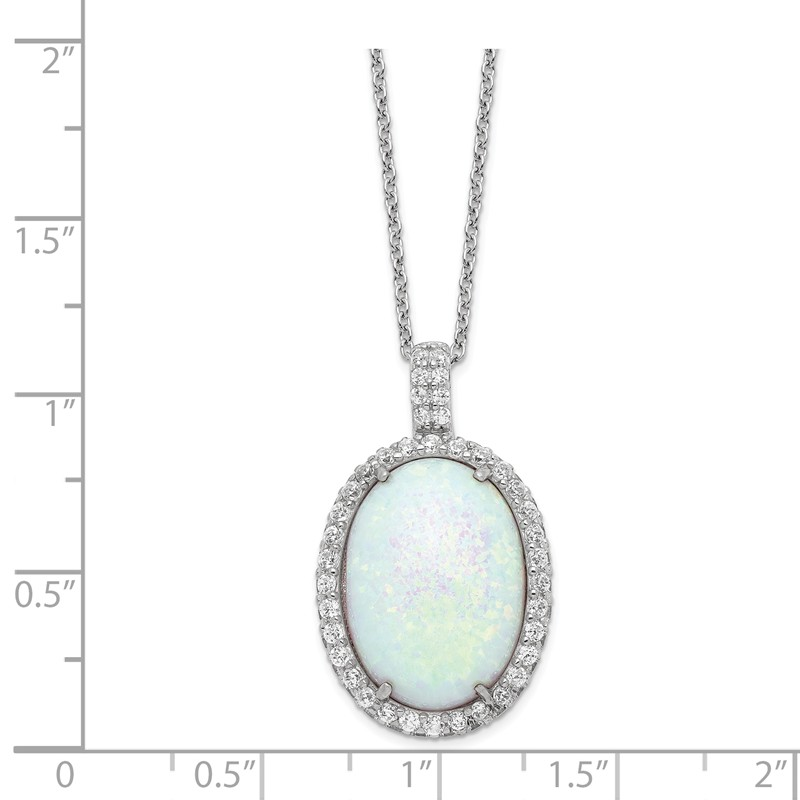 Sterling Silver Synthetic 18in W//Rhodium-plated Polihsed Simulated Opal /& CZ Necklace