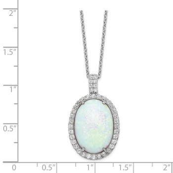 Cheryl M SS Rhod-plated Created Opal & CZ Oval Pendant 18in Necklace