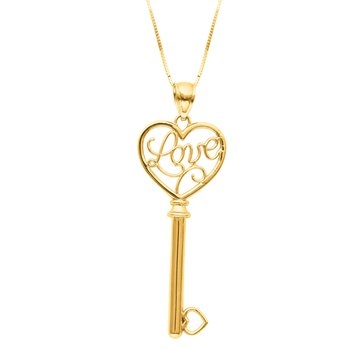 14K Gold Love Key Necklace