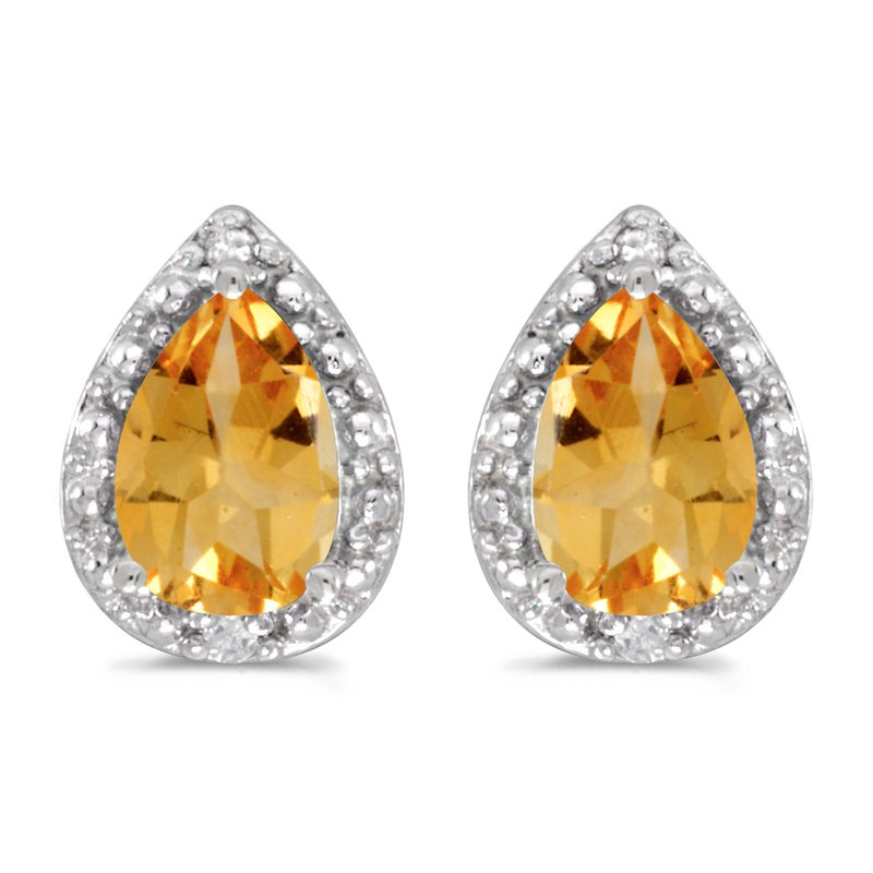 Color Merchants 14k White Gold Pear Citrine And Diamond Earrings
