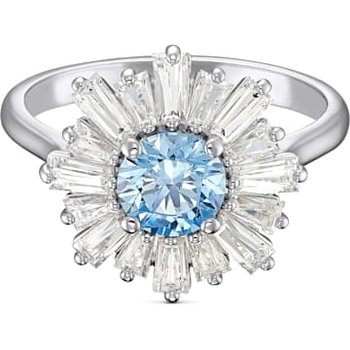 Sunshine Ring, Blue, Rhodium plated