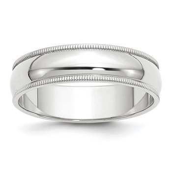 14k White Gold 6mm Milgrain Band