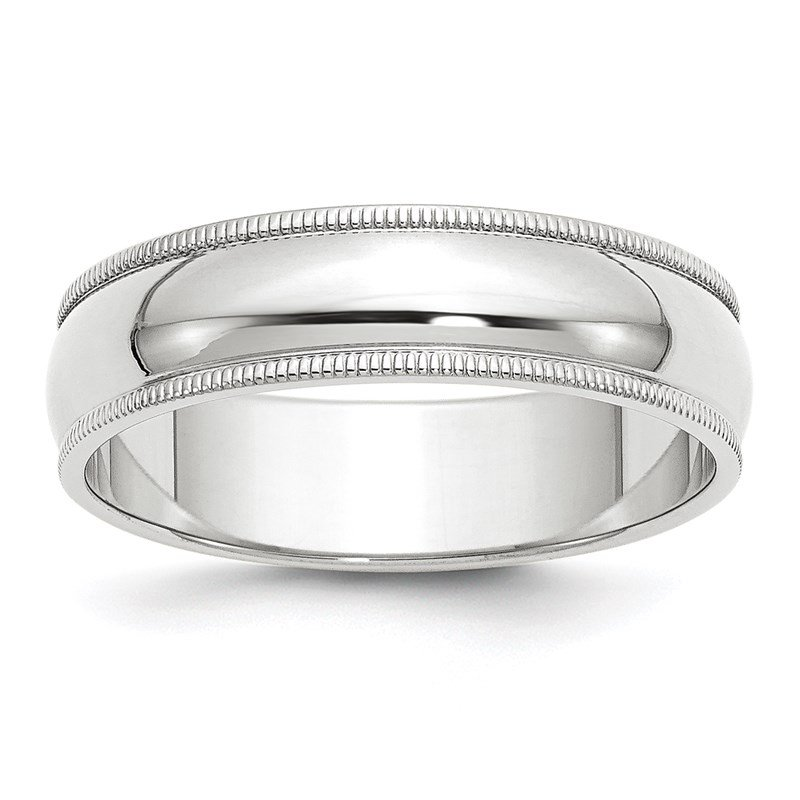Quality Gold 14k White Gold 6mm Milgrain Band