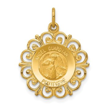 14k Polished/Satin Spanish Guardian Angel Medal Hollow Pendant