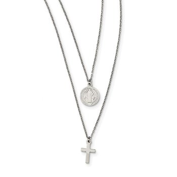Sterling Silver Religious Charm Layered Necklace
