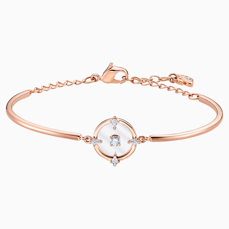 Swarovski North Bangle, White, Rose-gold tone plated