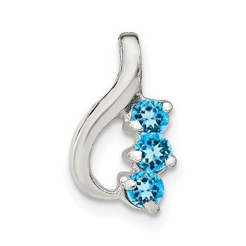Sterling Silver Blue Topaz Chain Slide Pendant