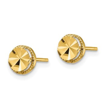 14K Diamond-Cut Round Post Earrings