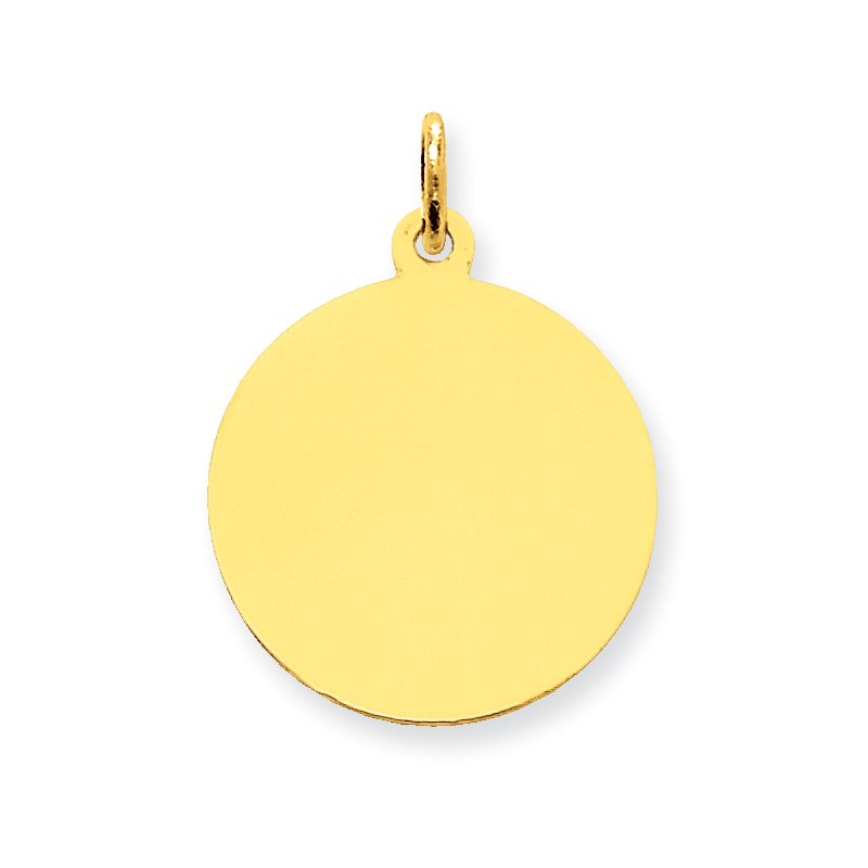 Quality Gold 14k Plain .013 Gauge Circular Engravable Disc Charm