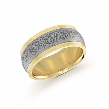 9mm two-tone yellow gold interior and edges, white gold center design embellished band