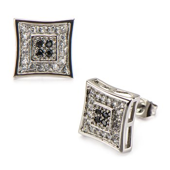 Clear & Black CZ in Square Kite Hip Hop Stud Earrings