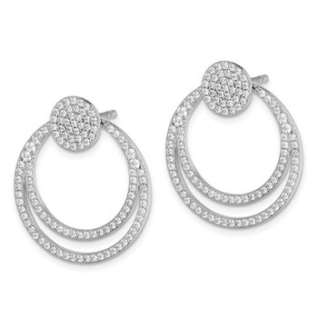 Sterling Silver Rhodium-plated Pave CZ Circle Front & Back Earrings