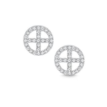 14k Gold and Diamond Geometric Stud Earrings