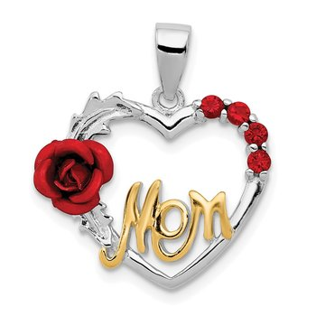 Sterling Silver Vermeil Red Flower & CZ Mom Pendant