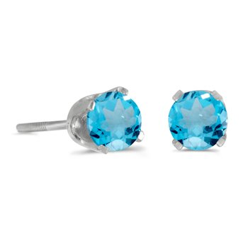 4 mm Round Blue Topaz Screw-back Stud Earrings in 14k White Gold