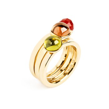 316L stainless steel, gold pvd, olive green zircon, coffee zircon and red agathe.