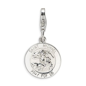 Sterling Silver Saint Michael Medal w/Lobster Clasp Charm