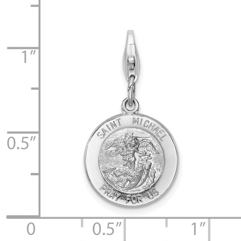 Lester Martin Online Collection SS RH Saint Michael Medal w/Lobster Clasp Charm