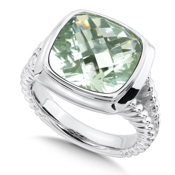 Sterling Silver Green Amethyst Essentials Ring