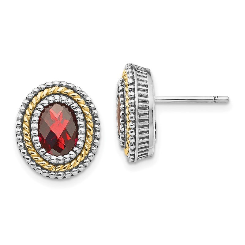 Quality Gold Sterling Silver w/14k Garnet Earrings
